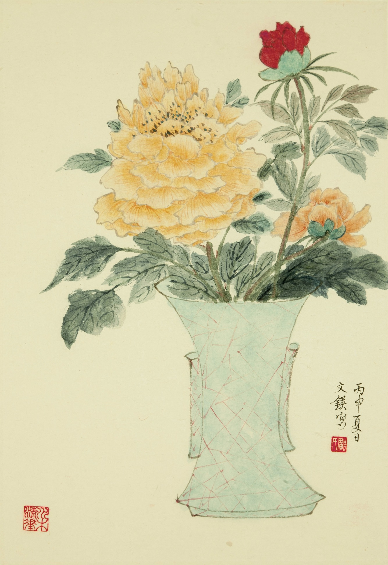 古瓶花卉 -- 牡丹 (2) Peony in Antique Vase (2)